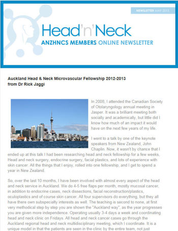 Auckland Head & Neck Microvascular Fellowship 2012-2013